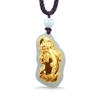 The pure gold insets natural and the farmland jade good omen Pi the Xiu mourn to fall to men and women the necklace D144 - intl