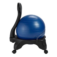 Gaiam Classic Balance Ball Chair ? Exercise Stability Yoga Ball Premium Ergonomic Chair for Home and Office Desk with Air Pump, Exercise Guide and Satisfaction Guarantee , Blue