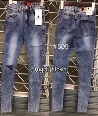 Angel closet กาางเกงยีนส์เอวสูง ขาเดฟ ขาดเข่า