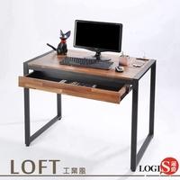 工業風工作桌98x60CM電源插座 耐磨PVC防潑水木紋貼皮 鐵腳 桌子  學習桌 電腦桌  書桌  MK-98