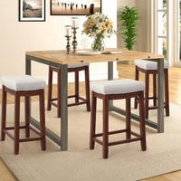 2Pcs/1Set Kitchen Backless Linen Counter Height Stools with Nailhead Studs Dining Wooden Chair Coffee Bar Stools Pub Stools
