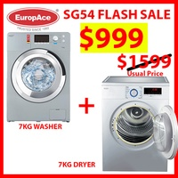 *SG54 Special* EuropAce 7 KG Front Washer + 7KG Dryer - 5 Years Motor Warranty