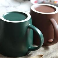 【wadhsa】【550ml】陶瓷杯大容量馬克杯大水杯陶瓷簡約早餐杯帶蓋瓷水杯搖搖杯冰霸杯環保杯