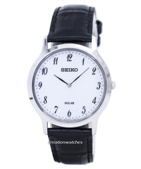 Seiko Solar Men's Black Leather Strap Watch SUP863P1