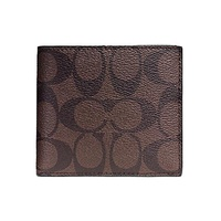Coach Signature Coated Canvas Double Billfold Men's Wallet F75083