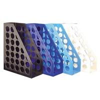 [現貨] 開放式圓孔雜誌箱(藍.米.黑.水藍)MF6800 辦公文具 收納 雜誌架【金興發】
