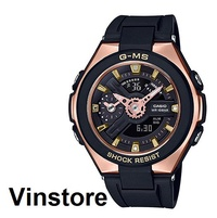Casio BABY-G G-MS Women Sports Watch Black Resin Band Rose Gold Case MSG-400G-1A1DR MSG-400G-1A1 MSG400G-1A1