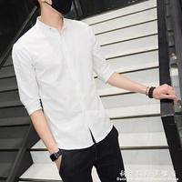 襯衫夏季亞麻五分袖襯衣男士短袖修身韓版立領棉麻中袖男襯衫潮流百搭 科炫數位