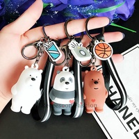 Cute We Bare Bears Keychain Pendants Cartoon Three Bare Bears Keyring Girl Gifts
