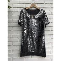 Isabelle Wen 溫慶珠 黑色亮銀管珠針織小洋裝