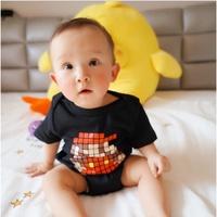【小孩故事館】親子裝專門店/童裝 春夏新款韓國超級瑪莉包屁衣情侶裝童裝短袖T恤