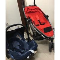 maxi cosi 二手藍色提籃+quinny支架+紅座椅