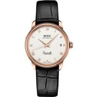 MIDO美度 Baroncelli III 羅馬機械女錶-銀x玫塊金框x黑色錶帶/33mm M0272073601300