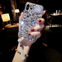 Luxury crystal rhinestone case OPPO R17 Pro R15 R11 R11S Plus Fashion fringed swan cover