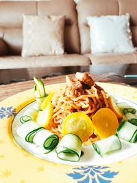 低醣涼麵 【 NAKAKI+】×【 麵條先生】聯名款-- 8包纖食麵+ 8包 麻辣麻醬