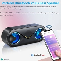 ◀ Bluetooth 5.0 Stereo Wireless Speaker Support TF Card AUX USB With LED Flash IVY