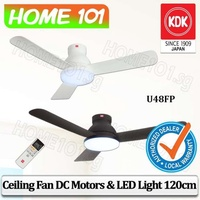 KDK DC Motor Ceiling Fan 120cm w/LED Light U48FP