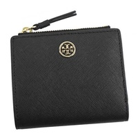 Tory Burch TORY BURCH / ROBINSON MINI WALLET Two fold wallet with coin purse # 47124 018 BLACK / ROYAL NAVY