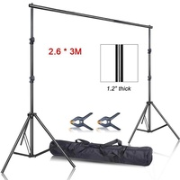 Photo Video Studio 2.6 x 3m Heavy Duty Background Stand Backdrop Support System Kit with Carry Bag for Photography