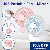 [▼-25% ] ecHome USB Portable Fan with Mirror 3 Speed Cooling Pink with Necklace