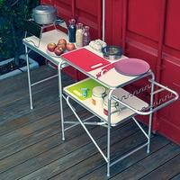 【索樂生活】TNR便攜式戶外行動廚房組合料理桌灶台附燈桿架收納提袋