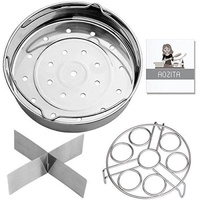 Steamers, Stock & Pasta Pots Aozita Steamer Basket Rack Set for Instant Pot Accessories 8 Qt- Fits Instant Pot 8 Qt Pressure Cookers, with Removeable Dividers, Egg Steamer Rack, Streaming Recipe and Cleaning Cloth - intl