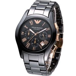 EMPORIO ARMANI 黑色陶瓷多功計時男士腕錶AR1410