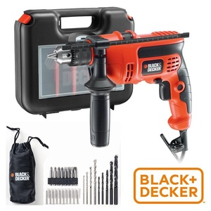 【BLACK&DECKER 百工】600W四分震動電鑽工具組(KR604REKP20)