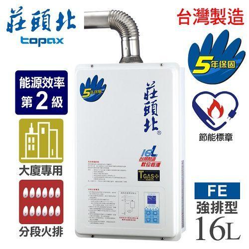 莊頭北16公升數位恆溫分段火排強制排氣熱水器TH-7166FE