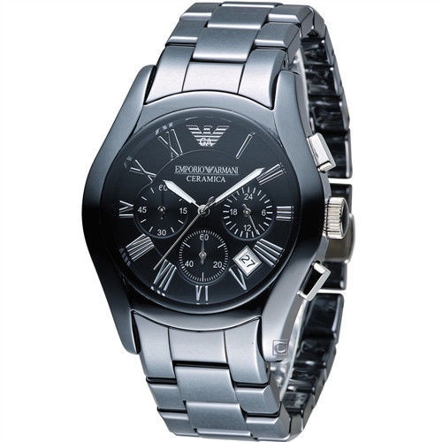 ARMANI亞曼尼 經典陶瓷三眼計時腕錶AR1400