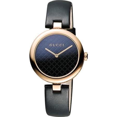 GUCCI 古馳 Diamantissima 菱格紋腕錶-黑x玫瑰金/27mm YA141501