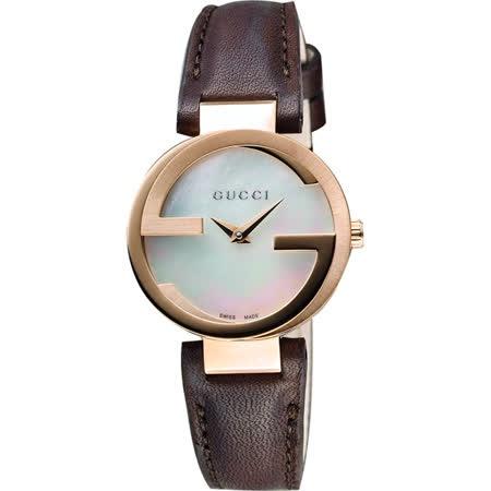 GUCCI 古馳 Interlocking-G 時尚女錶-珍珠貝x咖啡/29mm YA133516