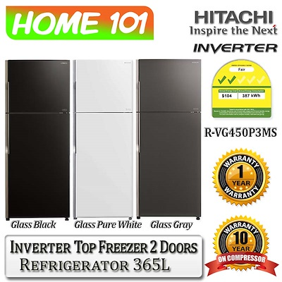 Hitachi R-VG450P3MS Top Freezer Refrigerator (365L)