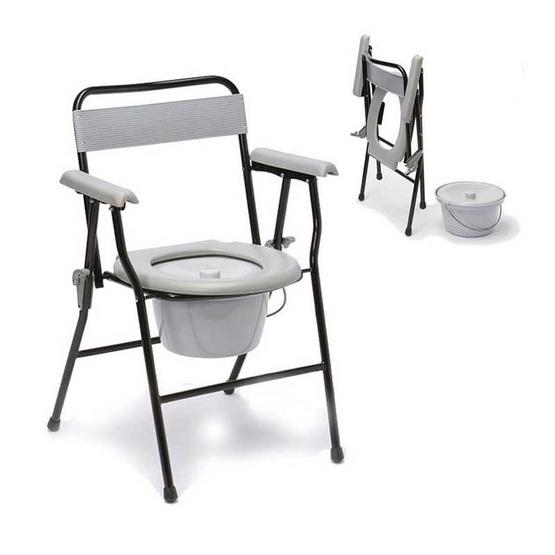 เก้าอี้นั่งถ่ายแบบพับได้ มีพนักพิง