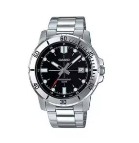 Casio | นาฬิกาข้อมือผู้ชาย รุ่น MTP-VD01D-1E สายสแตนเลสสีเงิน หน้าปัดสีดำ