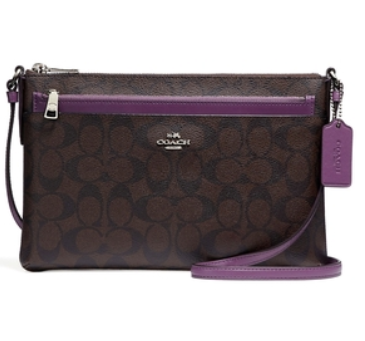 COACH | กระเป๋าคล้องมือ 2 ซิป COACH DOUBLE ZIP WALLET IN SIGNATURE COATED CANVAS F16109