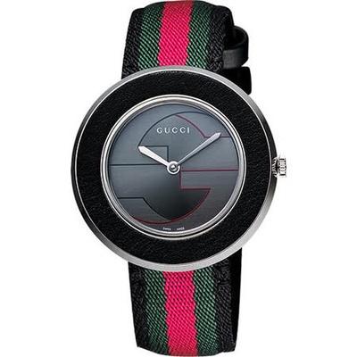 GUCCI 古馳  U-Play 系列 G&G時尚女錶-灰x綠紅綠版 YA129444