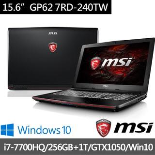 MSI微星  15.6吋電競筆電 i7-7700HQ/8G/256+1T/GTX1050-2G (GP62-240)