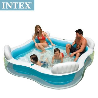 【INTEX】方型有靠墊透明戲水游泳池 (56475)