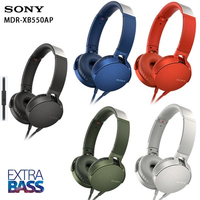 【SONY 索尼】EXTRA BASS 重低音頭戴式耳機 MDR-XB550AP