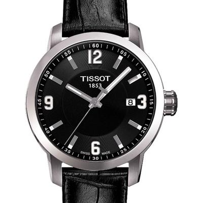 TISSOT天梭 PRC200 都會菁英時尚腕錶黑皮帶/39mm T0554101605700
