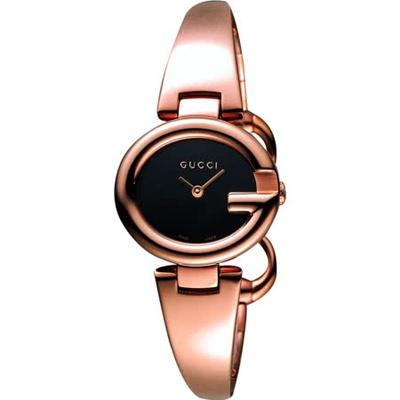 GUCCI 古馳 Guccissima 名媛手鐲腕錶-黑x玫瑰金/27mm YA134509