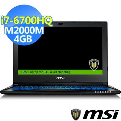 MSI微星 15.6吋繪圖筆電 i7-6700HQ/16G/256GSSD+1TB/M2000M-4G (WS60-443)