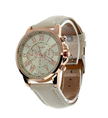 Geneva | นาฬิกาข้อมือผู้หญิง รุ่น Geneva Roman Numerals Faux Leather Wrist Watch