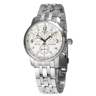 TISSOT天梭 PRC2000 藍寶石三眼計時腕錶 T17158632