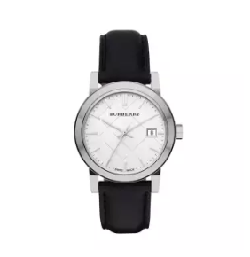 BURBERRY | นาฬิกาข้อมือผู้หญิง Burberry Silver Dial Black Leather BU9106 Leather Ladies Watch