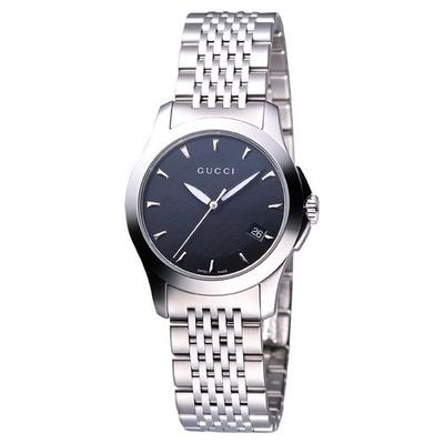 古馳GUCCI Classic G 經典古馳菱格紋時尚女錶-黑/26mm YA126502