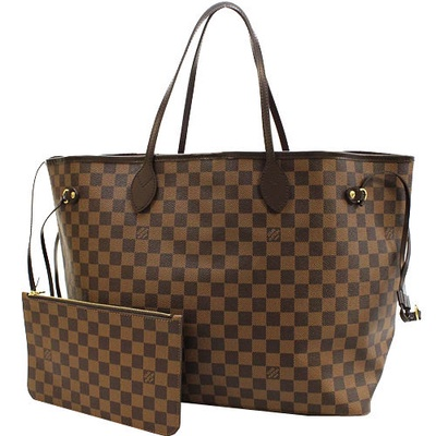LV N41357 NEVERFULL GM 棋盤格紋子母束口購物包
