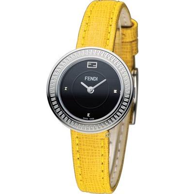 芬迪 FENDI MY WAY 輕盈柔美時尚腕錶 F350021051 黑x黃