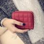 ✨現貨✨韓版小錢包女短款拉鍊可愛零錢包學生菱格繡花兩折錢夾